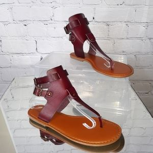 AEO Women's Oxblood Red Gladiator Sandals - 9